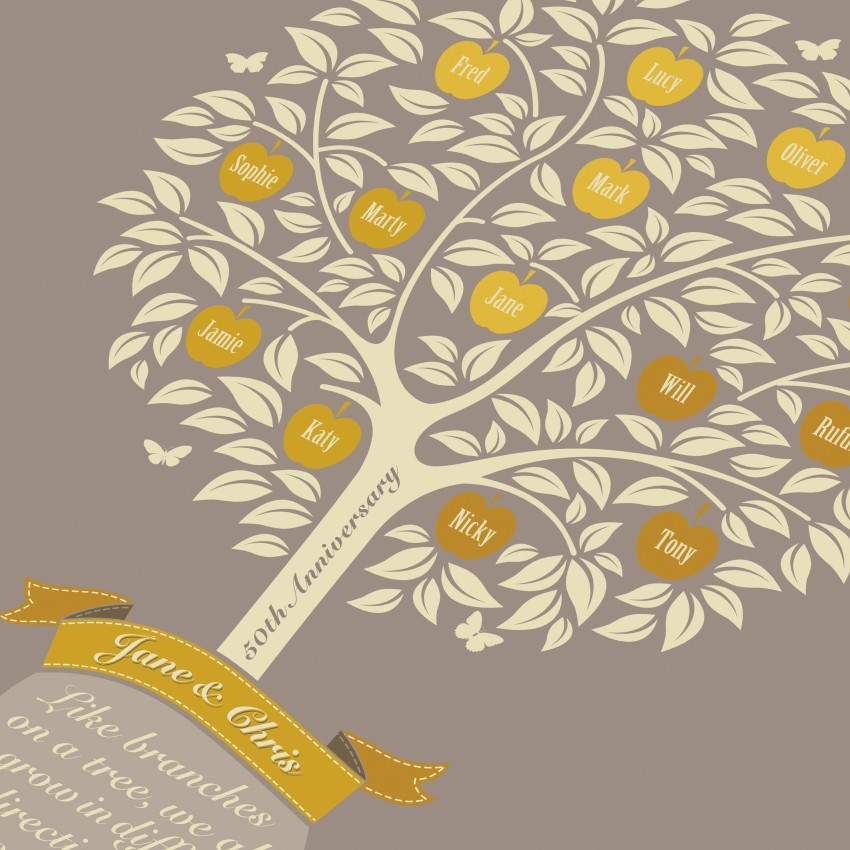 8867e9c3096 Golden Anniversary Family Tree - GOAFTP - Greetings cards and art ...